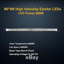 50 288W Incurvé LED Light Bar Combo IP68 Conduite Lumière Off-road 4WD Philips