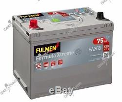 Batterie démarrage voiture Fulmen FA755 12v 75ah 630A 270x173x222mm
