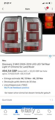 LAND ROVER DISCOVERY 3 04-09 Chrome LED LIGHTBAR REAR TAIL BACK LIGHTS
