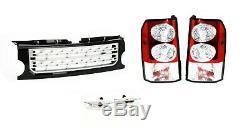 LR Discovery 3 Transparent LED Feux Arrières, avant Noir & Argent Grille Kit