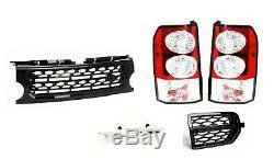 LR Discovery 3 Transparent LED Feux Arrières, avant Noir Grille Mise Kit & Vent
